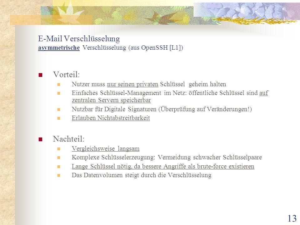 E-Mail Verschlüsselung asymmetrische Verschlüsselung (aus OpenSSH [L1])